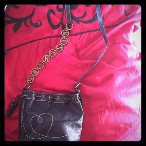 Handbags - Authentic Moschino Lettered Strap Mini Bucket